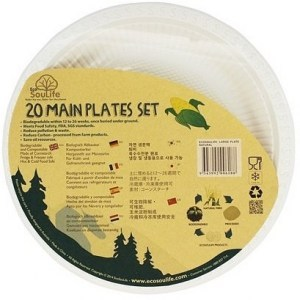 EcoSouLife Cornstarch (23cm) Main Plate Natural 20Pc Set