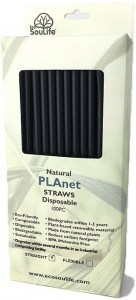 EcoSouLife PLAnet Straws 100Pc Pack Black
