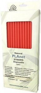 EcoSouLife PLAnet Straws 100Pc Pack Red