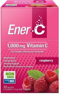 Ener-C 1000mg Vitamin C Raspberry Effervescent Drink Mix  12Sachets