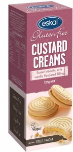 Eskal Custard Cream  Sweet Biscuits with Vanilla Flavoured Filling 125g