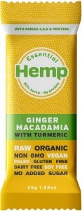 Essential Hemp Ginger Macadamia with Turmeric Bars 12x45g
