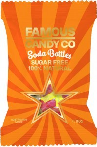 Famous Candy Co Sugar Free Soda Bottles G/F 180g
