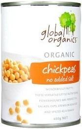 Global Organics Chick Peas Canned No Salt 400gm