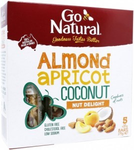 Go Natural Almond Apricot Coconut Nut Delight Bars  5x35g