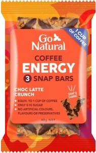 Go Natural Coffee Energy Choc Latte Crunch 3 Snap Bars 10x40g