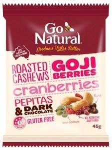 Go Natural Goji Berries & Dark Chocolate Snack Pack 12x45g