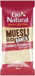 Go Natural Muesli Slice Baked Cranberry Strawberry w/Yoghurt 90g
