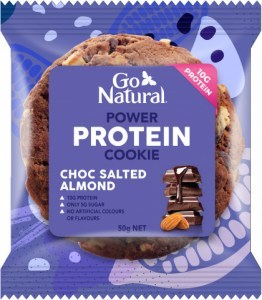 Go Natural Power Protein Cookie Choc Salted Almond Cookie 8x50g