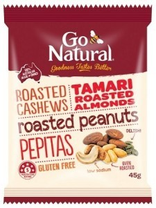 Go Natural Tamari Roasted Nut Snack Pack 12x45g