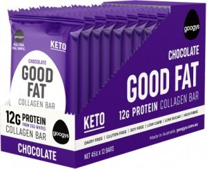 Googys Good Fat Keto Chocolate Collagen Bars  12x45g