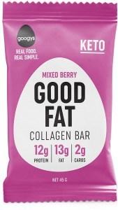 Googys Good Fat Keto Mixed Berry Collagen Bars  45g