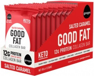 Googys Good Fat Keto Salted Caramel Collagen Bars  12x45g