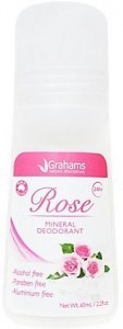 Grahams Rose Mineral Deodorant Roll On 65ml