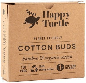 Happy Turtle Organic Cotton & Bamboo Cotton Buds - 100 Pack