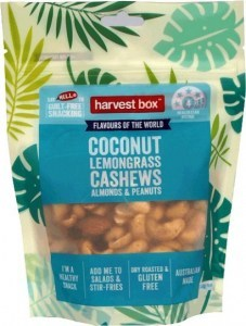 Harvest Box Coconut Lemongrass Cashews Almonds & Peanuts  140g