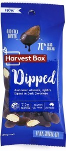 Harvest Box Dipped (Almonds Lightly Dipped in Dark Chocloate)  40g