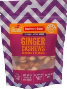 Harvest Box Ginger Cashews Almonds & Peanuts  140g