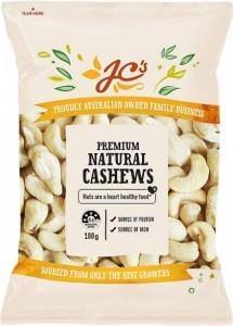 JC's Natural Cashews 100g