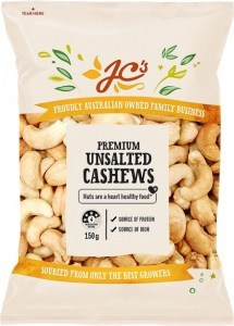 JC's Premium Unsalted Cashews 150g