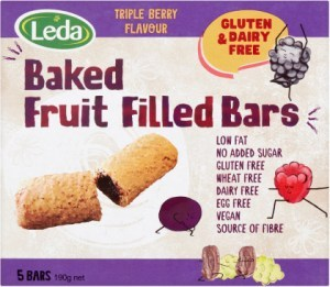 Leda Baked Fruit Filled Bars Multipack Triple Berry 5Bars 190g