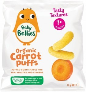 Little Bellies Organic Baby Puffs Yummy Carrot Finger Food  (9+ months) 12g