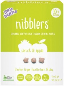 Little Bellies Organic Nibblers Carrot & Apple Multigrain Cereal Bites (10+ months) 32g