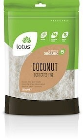 Lotus Organic Coconut Desiccated Fine  250g JUN20