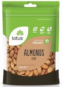 Lotus Organic Raw Almonds  100g