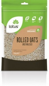 Lotus Organic Rolled Unstabilised Oats 750g