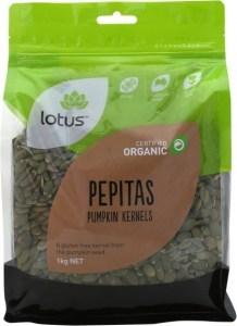 Lotus Pepitas (Pumpkin Kernels) Organic  1kg