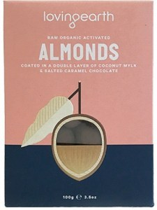 Loving Earth Raw Organic Activated Almonds Coated in Mylk & Salted Caramel Choc  100g