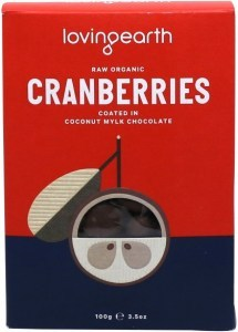 Loving Earth Raw Organic Cranberries Coated In Coconut Mylk Chocolate G/F 100g