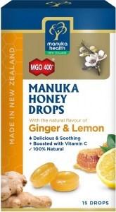 Manuka Health MGO 400+ Manuka Honey Drops Lemon & Ginger Lozenges 15s