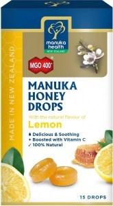 Manuka Health MGO 400+ Manuka Honey Drops Lemon Lozenges 15s