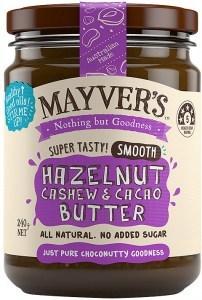 Mayvers Smooth Hazelnut, Cashew & Cacao Butter G/F 240g