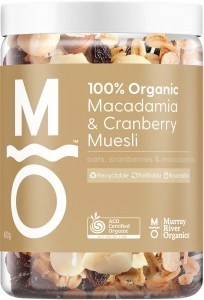 Murray River Organics Organic Macadamia & Cranberry Muesli 400g Jar