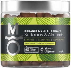 Murray River Organics Organic Mylk Chocolate Sultanas & Almonds  300g Jar