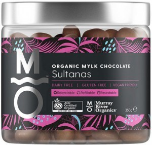 Murray River Organics Organic Mylk Chocolate Sultanas  350g Jar