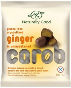 Naturally Good Crystallised Ginger in Unsweetened Carob 125g