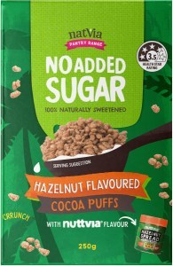 NatVia No Added Sugar Hazelnut Flavoured Cocoa Puffs 250g