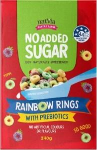 NatVia No Added Sugar Rainbow Rings w/Prebiotics 240g