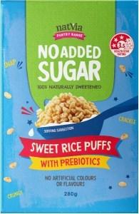NatVia No Added Sugar Sweet Rice Puffs w/Prebiotics 280g