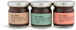 Nib & Noble Organic Chocolate Sauce Gift Box (Chilli, Mint, Original) 3x40g