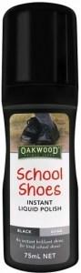 Oakwood School Shoes Instant Liquid Polish Black 75ml MAR23