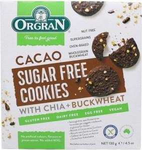 Orgran Cacao Sugar Free Cookies with Chia & Buckwheat 130g