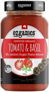 Ozganics Organic Tomato & Basil Pasta Sauce 500g