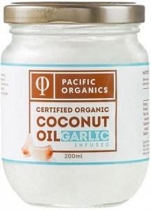 Pacific Organics Garlic Infused Coconut Oil  200ml Glass Jar NOV21