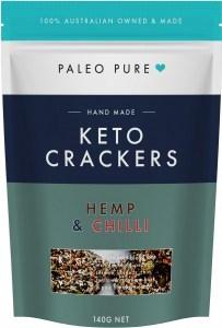 Paleo Pure Keto Crackers Hemp & Chilli 140g