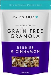 Paleo Pure Ogranic Grain Free Granola Berries & Cinnamon  300g